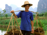 Colorful Portrait of Rice Farmer in Yangshou  China