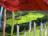 Praying Flags with Village and Farmlands at Pepe La Pass  Phobjikha Valley  Gangtey  Bhutan
