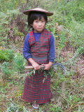 Little Girl Carrying Sickle  Bumthang  Bhutan