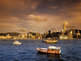 Boats in Victoria Harbor at Sunset  Hong Kong  China