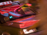 Taxi Cab Along Neon-Lit Nanjing Road  Shanghai  China