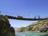 Hanging Bridge Across the River  Shigatse  Tibet  China