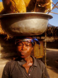Woman Carrying Pan Filled with Baobab Fruit  Boku  Ghana