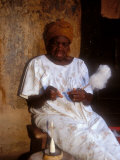 Elder Grandmother Spinning Yarn  Boku  Ghana