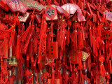 Placques Adorn the Fence of the Four Gates Buddhist Temple  Shandong Province  Jinan  China