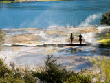 Tourists and Thermal Terraces  Orakei Korako Thermal Area  North Island  New Zealand