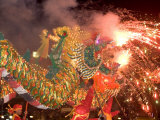 Dragon Performers at Chinese Thanksgiving Festival  Khon Kaen  Isan  Thailand