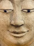 Smiling Buddha Head Statue  Temple  Bangkok  Thailand
