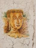 Buddha Image Painted on a Grave  Wat Si Saket  Vientiane  Laos