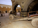 Old Carts in the Renovated Sarihan near Avanos  Cappadocia  Central Anatolia  Turkey