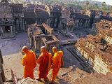 Monks Overlook Angkor Wat  Cambodia