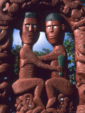 Native Maori  Wooden Tribal Statue  Maori Arts and Crafts Institute  New Zealand