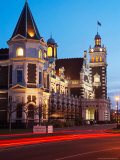 Historic Railway Station at Dusk  Dunedin  South Island  New Zealand