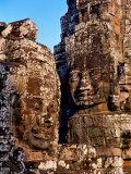 Stone Carvings in Bayon Temple  Angkor Thom near Angkor Wat  Cambodia