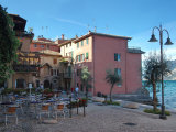 Cafe and Stores on Waterfront  Lake Garda  Malcesine  Italy