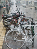 Bikes in the Snow  Place Notre Dame  Grenoble  Isere  French Alps  France