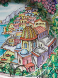 Painting of Positano on Ceramic Plate  Positano  Amalfi Coast  Campania  Italy