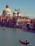 Gondola on the Grand Canal nearing the Santa Maria della Salute  Venice  Italy