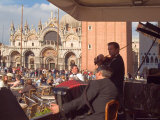 Band Playing for the Crowd in the Piazza San Marco  Venice  Italy
