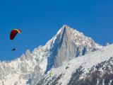 Paraglider and Aiguille du Midi  French Alps  Haute-Savoie  Chamonix  Mont Blanc  France