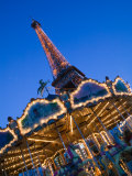 Winter View of the Eiffel Tower and Carousel  Paris  France