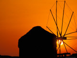Sunrise with Mykonos Windmills  Mykonos  Cyclades Islands  Greece