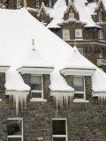 Detail of Snowy Roofline of Banff Springs Hotel  Banff  Alberta