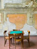 Table and Wall at 15th century Sedile Dominova Social Club  Sorrento  Campania  Italy
