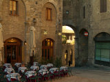 Restaurant in a Small Piazza  San Gimignano  Tuscany  Italy