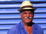 Close Up of Native Man with Blue Wall  Athens  Greece