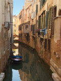 Boat Docked on a Side canal  Venice  Italy