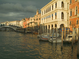 Sunset View of Storm Clouds and Boats on the Grand Canal  Venice  Italy