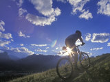 Mountain Biker at Sunset  Canmore  Alberta  Canada