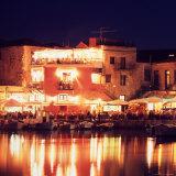 Harborside Restaurants at Night  Old Town  Rethymnon  Western Crete  Greece