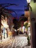 Alleyway at Night  Mykonos  Greece