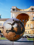 Sculpture called Sphere by A Pomodoro  Vatican Courtyard  Rome  Italy
