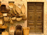 Montalcino  Basket Seller and Wall  Tuscany  Italy