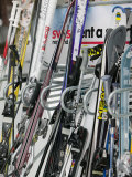 Ski Rack with Skis  Grindelwald  Bern  Switzerland
