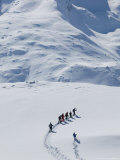 Cross Country Skiers and Matterhorn  Rotenboden  Zermatt  Valais  Wallis  Switzerland