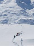 Cross Country Skiers and Matterhorn  Rotenboden  Zermatt  Valais  Wallis  Switzerland