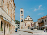 Main Square and Cathedral of St Stephen  Hvar  Dalmatian Coast  Croatia