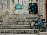 Bike and Wine Cask on Stone Steps  Hvar  Dalmatian Coast  Croatia