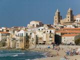 Town View with Duomo from Beach  Cefalu  Sicily  Italy