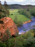 Blue Amata River Snakes through Zvartas Valley  Gauja National Park  Latvia