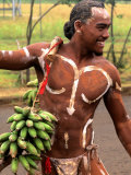 Native Preparing to Compete in Banana Race  Tapati Festival  Rapa Nui  Easter Island  Chile