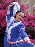 Native Dancer in Colored Dress with Flowers  Mexico