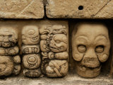 Row of Carved Skulls on The Mouth of the Monster  Temple of the Meditations  Copan  Honduras