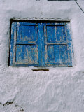 White Adobe Wall  Windows Painted Blue  Cuzco  Peru