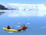 Kayakers Paddle in Nassau Fjord near Chenega Glacier  Chugach Mountains  Alaska USA