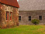 Wooden Barn and Old Stone Building in Rural New England  Maine  USA